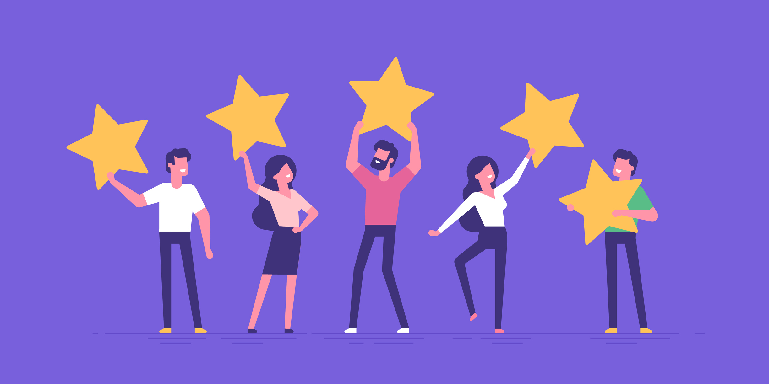 Five illustrated people holding up five stars