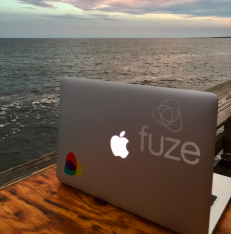 Laptop at a beach bar
