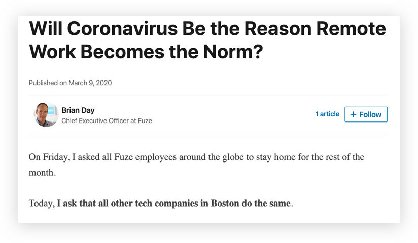 A Note From Our CEO: Will Coronavirus Be the Reason Remote Work Becomes the Norm?